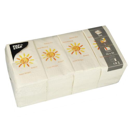 1000 Tissue Servietten 3-lagig 1 8-Falz 33 cm dekor  Good Morning  Gastro