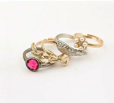New Fashion Bowknot Bird Pearl Flower Angel Wings Crystal Set Of Five Rings