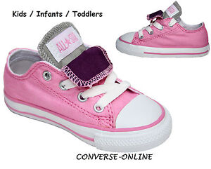 8aab8e96d3bd Kids Baby Girl CONVERSE All Star PINK PURPLE DOUBLE TONGUE Trainers ...