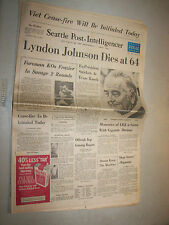 Jan 23 1973 Newspaper Seattle Post Intelligencer LBJ Viet Cease-Fire Foreman KO
