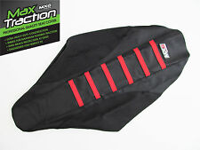 HONDA CRF450 CRF450R 02-04 RIBBED GRIPPER SEAT COVER BLACK WITH RED RIBS STRIPES