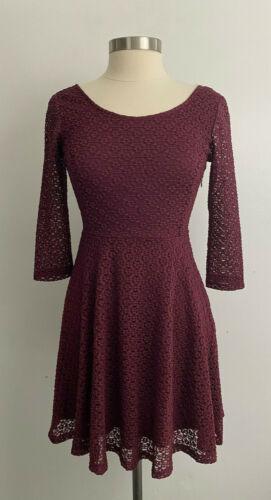 Lush Burgundy Lace Overlay Mini Dress sz Medium