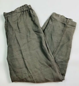 Eileen Fisher Womens Large Linen Pants Elastic Waist Ankle Tapered Gray