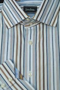 Neiman-Marcus-Men-039-s-Blue-Brown-Stripe-Flip-Cuff-Cotton-Casual-Shirt-L-Large