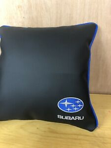 17-Inch-Faux-Leather-Subaru-Logo-Embroidered-Cushion-Blue-Piping