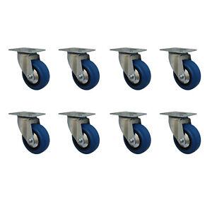 8 Stück Blue Wheels Lenkrollen 100 mm Transportrollen Transportgeräterollen