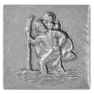 Metall-Stockschild-Relief-Plakette-Heiliger-Sankt-St-Christophorus-Stocknagel