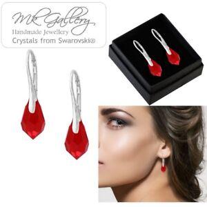 925-Sterling-Silver-Earrings-Set-11mm-Teardrop-Drop-Crystals-from-Swarovski