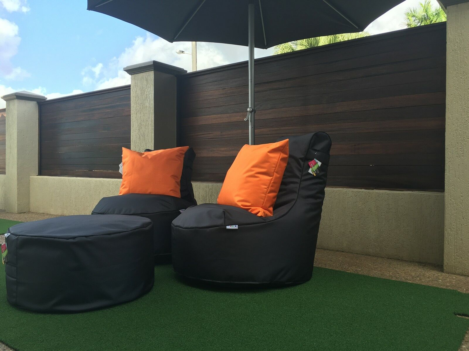 Bean Bag Set  2 Chairs + stool Resort style durable quality outdoor Adora