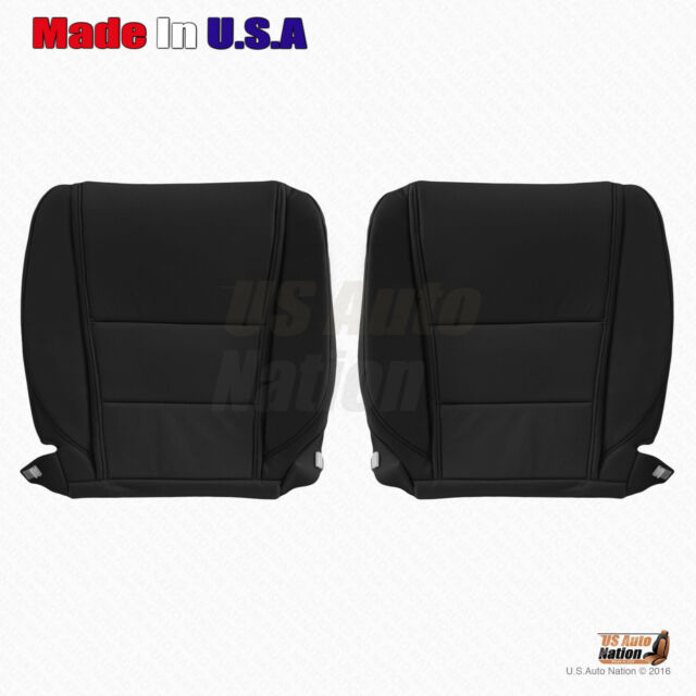 Driver & Passenger Bottom Leather Seat Cover Black For