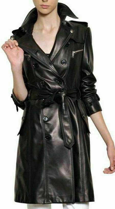 Femme Authentique Agneau Véritable Cuir Manteau Long Fashion Bouton Manteau Noir