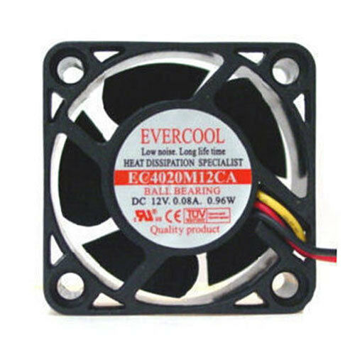 Evercool EC4020M12CA 40X40X20MM 12V Ball Bearing Fan 3 Pin