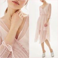 Topshop Pink Mesh Midi Long Sleeve Dress Size 10 12 14 16 US 6 8 10 12 Blogger❤