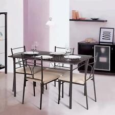 5 Piece Metal Frame Kitchen Breakfast Dining Set 4 Chairs and Table Dinette Q2X9