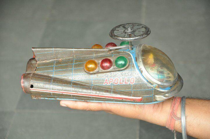 Vintage MT Trademark USA NASA Appolo Litho Space Jet Battery Tin Toy,Japan