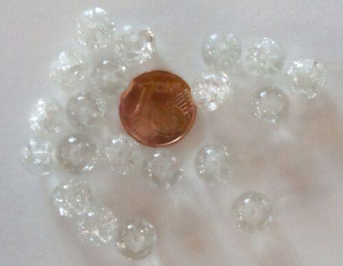 60 perles rondes 6mm verre CRAQUELE TRANSPARENT DIY création bijoux