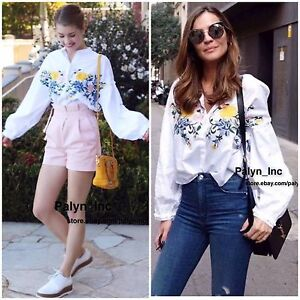 e88ef949 NWT ZARA SS17 WHITE FLORAL EMBROIDERED SHIRT TOP BLOUSE 0881/012_XS ...