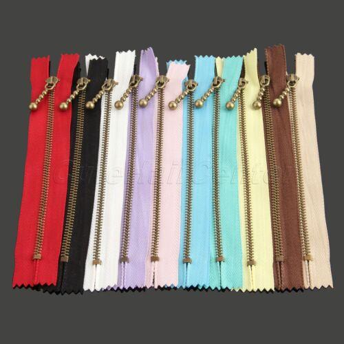 Metal+Nylon Zipper Close End 15//20cm For Bag Purse Craft DIY Tailor Sewing 10PCS