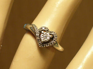 Details about WOMEN'S SUN  925 STERLING SILVER DIAMOND HEART RING SIZE 6 5