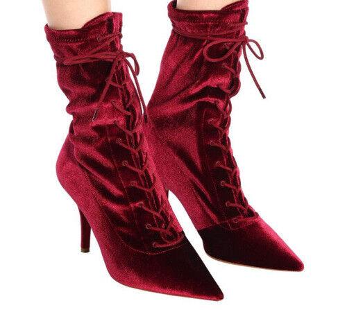 con il 100% di qualità e il 100% di servizio Fashion Donna  High Heels Stilettos Velet Pointed toe toe toe Lace Ups Fall Ankle stivali  negozio a basso costo