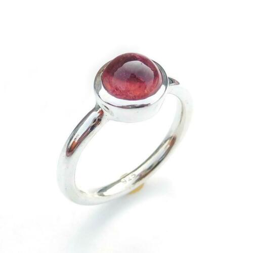 Garnet Stone Ring Solid 925 Sterling Silver Band Handmade Jewelry R251