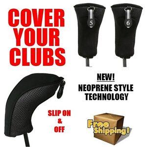 2-BRAND-NEW-HYBRID-HEAD-COVERS-5-6-SET-THICK-BLACK-NEOPRENE-GOLF-CLUB-HEADCOVER