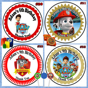 Image is loading Paw-Patrol-Birthday-Round-Stickers-Labels-1-sheet-
