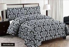 Jacquard Black Floral Quilt Bedspread Throw Comforter King Size 240 x 260 cm