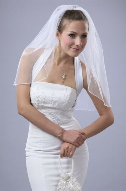 White 1 Tier Long Chapel Length  Pencil Edge Off Bridal Wedding Veil Diamond