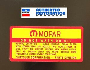 1964-65-66-67-68-1969-AIR-CLEANER-SERVICE-DECAL-MoPar-Dodge-Plymouth-1965-1966