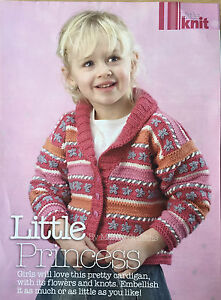 KNITTING-PATTERN-Girls-Flower-Cardigan-Childrens-V-Neck-Collar-Debbie-Bliss