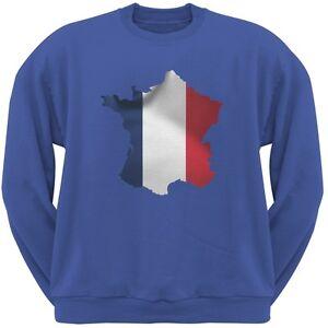 France Col Rond Adulte Sweatshirt Bleu R5L34jA