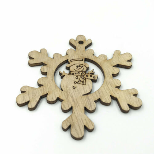 Wood color Wooden snowflake snowman Pendant Scrapbooking craft 69mm