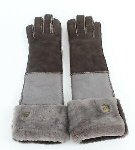 Ugg-Taupe-Brown-Sheep-Skin-Long-Gloves-723W