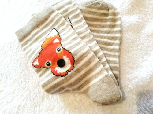 LADIES HIGH QUALITY ANKLE GIFT SOCKS BUTTON NOSE FOX BIEGE DESIGN