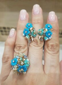 Details About New Set Russian Earrings Ring Rose Gold Plated Silver Turquoise Spinel Flower