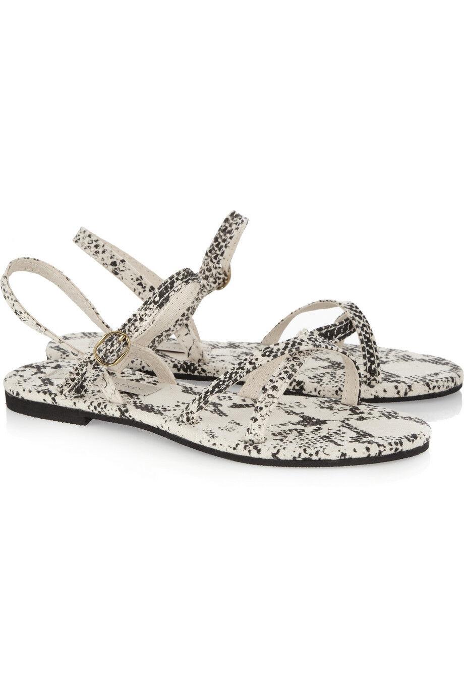 di moda STELLA Mccartney Colore Crema Nero Tela Tela Tela Rock piatto Sandalo 36  fino al 70% di sconto