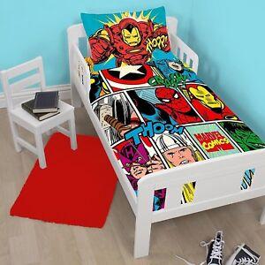 Marvel Avengers Bd Junior Tout Petit Taille Lit Bebe Ensemble Housse
