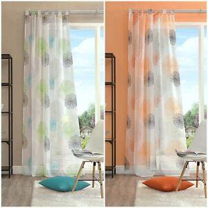 schlaufenschal bxh 140x245cm rawlins gr n blau voile schal vorhang orange kreise ebay. Black Bedroom Furniture Sets. Home Design Ideas