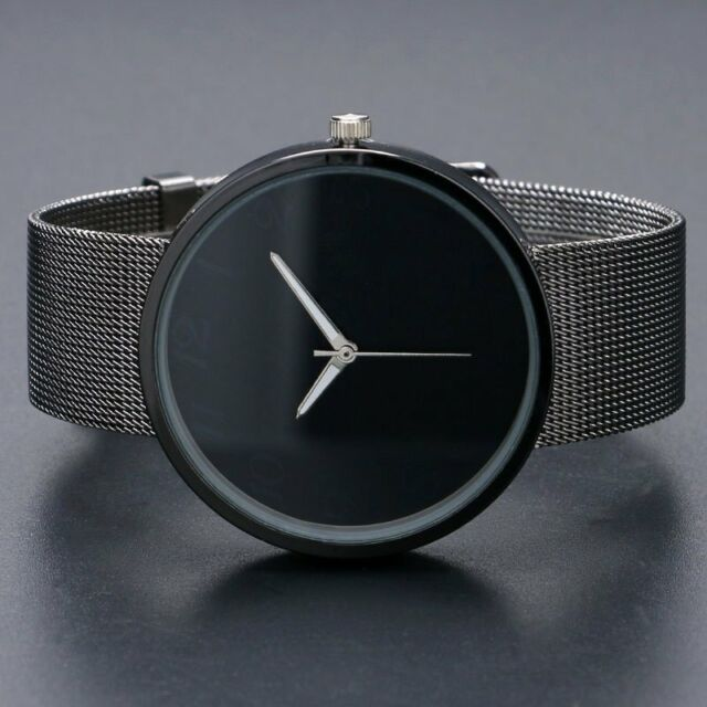 Black Metal Iron Net Mesh Band Quartz Wrist Watch Mens Womens Xmas Gift Q1003