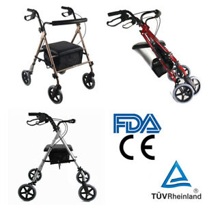 Free-Post-Aluminum-Foldable-Rollator-Walking-Frame-Outdoor-Walker-Aids-Mobility