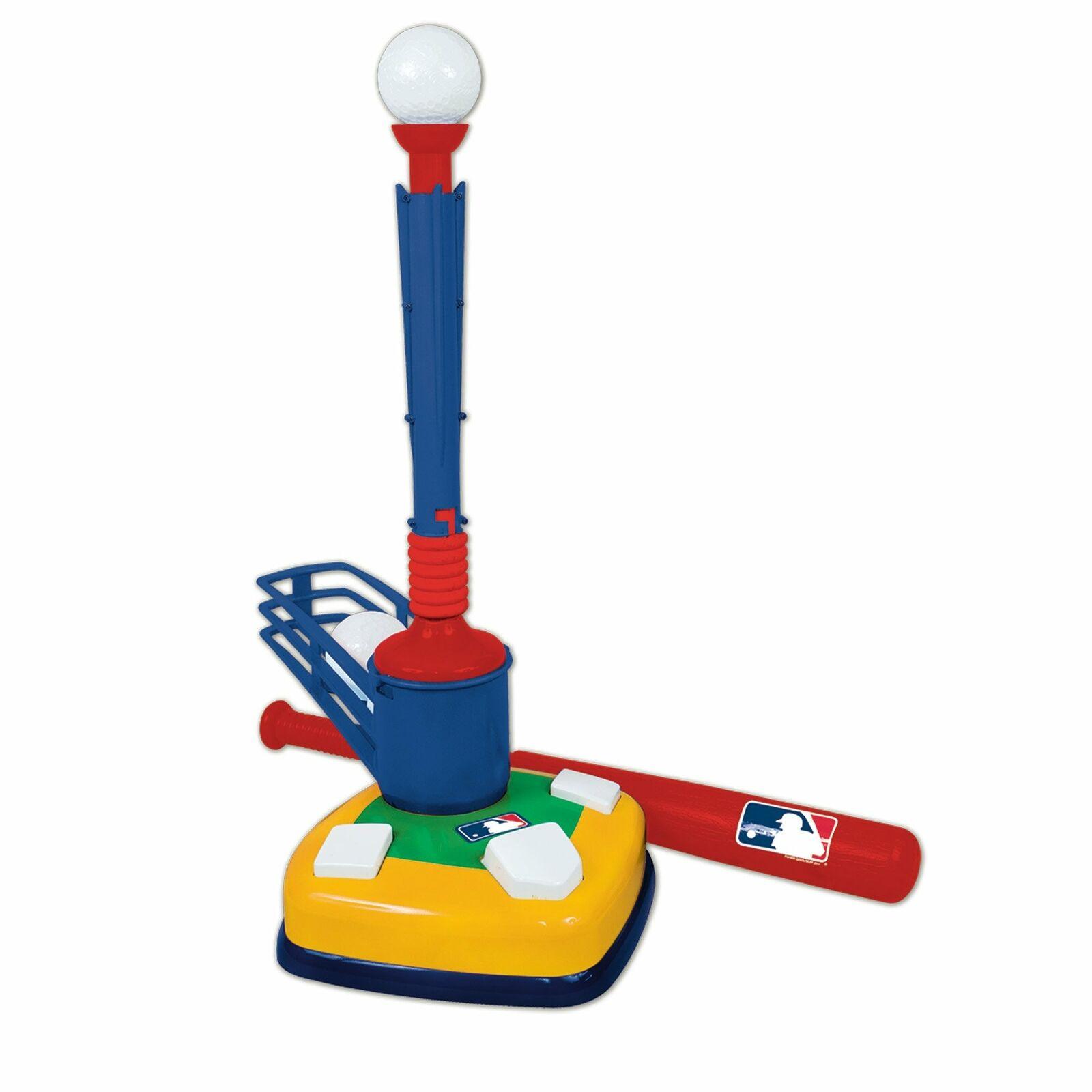 Baseball Toy Tee Ball Bat Pitch 2-in-1 Kids Toddlers Fun Training MLB Sport Set