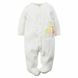 29e685421fe6 NWT Carters Unisex Infant Boy Girl White Sleeper Sleep   Play ...