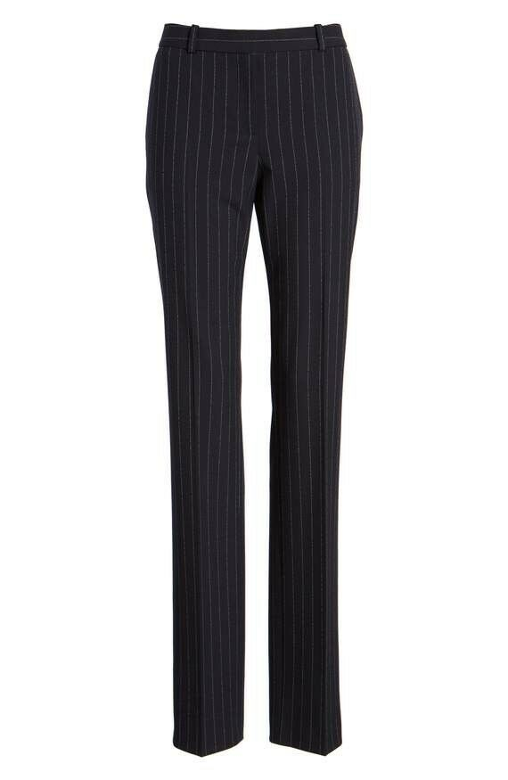 New Navy Women's BOSS Titana Pinstripe Suit Pant Trousers Size 4 MSRP  255