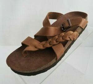 White Mountain Footbeds Hansen Sandals Brown Leather Braid