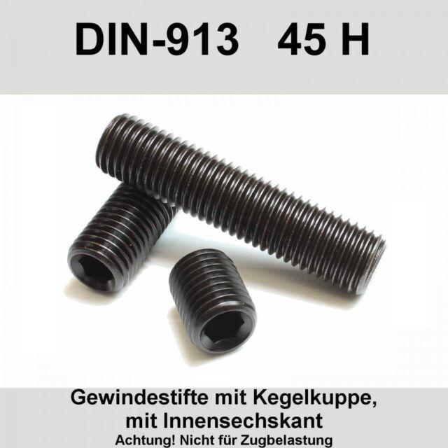 10X Gewindestifte M6x40 Innensechskant und Kegelstumpf 45H nach DIN EN ISO 4026 ehemals DIN 913 Madenschrauben schwarz 10 St/ück
