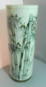 Vintage-Japanese-Porcelain-Wig-Stand-Cylinder-Vase-11-5-034-Blue-Bamboo-Signed