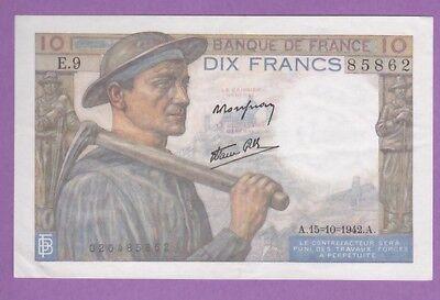 (ref: E.9) 10 Francs Mineur 15/10/1942. (neuf-)