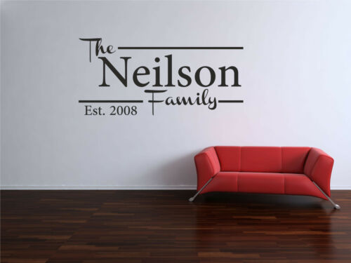 HOME FAMILY WALL ART VINYL ANY NAME DECAL PERSONALISED SURNAME