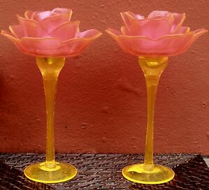 BEAUTIFUL-PAIR-Tuscan-Style-Pink-Lemon-Glass-Candle-Holders-BRAND-NEW